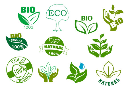 ecology emblem: Bio, eco and natural products symbols with green leaves in hands, water drops, healthy organic apple fruits and tree. For food package design