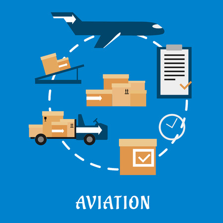 Air cargo and logistics flat icons with airplane, conveyor, cardboard boxes with packaging symbols, airport truck, clock and clip board with order list with caption Aviation below