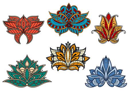 Helle Paisley-Blumenblumen persische, indische und türkische Muster mit geschwungenen Linien und Schnörkeln verziert. Für orientalische stilisierte Innenraum oder Textildesign