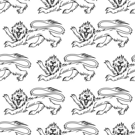 foreleg: Medieval royal heraldic lions seamless pattern with profiles of noble mythical animal on white background. For heraldry theme