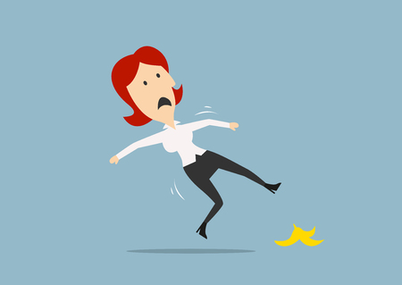 peel: Redhead businesswoman slipped on a banana peel and falling down on the floor. Cartoon flat style