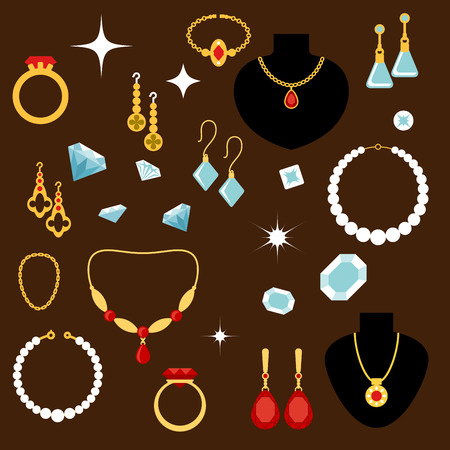 jewelry design: Luxury precious jewelries flat icons of rings, necklaces, chains with pendants, earrings and bracelets, inlaid with diamonds, rubies, pearls and sapphires
