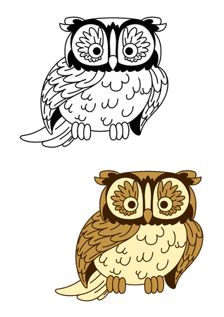 retro cartoon: Brown and colorless retro stylized cartoon owl bird mascot with cute ear tufts and sharp talons, for Halloween or wildlife theme design