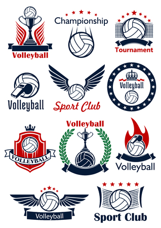 stars and symbols: Volleyball game sport emblems, icons and symbols with balls, trophies, whistles and nets. Decorated by heraldic shield, wreath and ribbon banners, stars, crowns, wings and flames