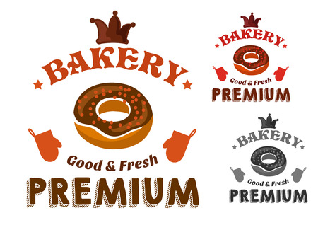 застекленный: Pastry and bakery shop emblem with glazed doughnut and sprinkles, encircled by text Premium, Good and Fresh, chocolate crown, stars and oven gloves