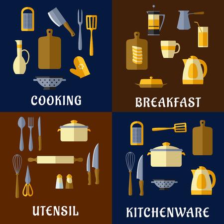 kettles: Utensilio de cocina o cocina iconos planos de ollas, teteras, cuchillos, té y café ollas, tablas de cortar, espátulas, tenedores, cucharas, ralladores, batidoras y otras herramientas