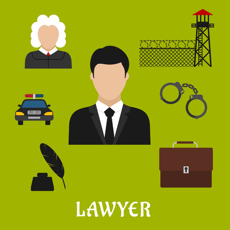 handcuff: Lawyer profession flat icons with man in black suit with briefcase, police car, judge, handcuff, ink with feather pen, prison watchtower with wire mesh wall
