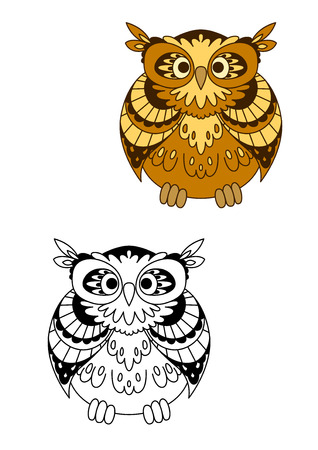 bird feathers: Retro stylized owl bird mascot with funny feathers and round eyes in outline cartoon style, for education or Halloween theme design Illustration