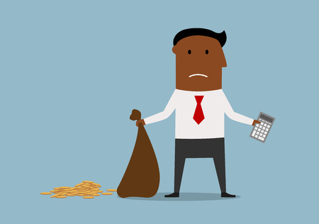 penniless: Depressed african american bankrupt businessman standing with calculator and empty money bag in hands, for financial crisis or bankruptcy theme design. Cartoon style