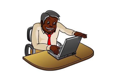 businessman working at his computer: Joyful african american businessman or manager cartoon character working on laptop computer on his workplace Illustration