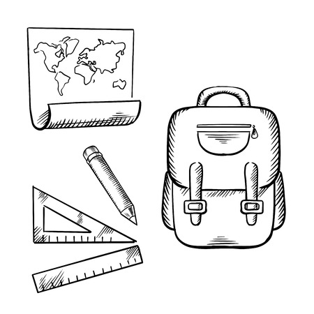 backpack: School backpack, world map, pencil, rulers. Sketch icons for back to school or education themes design Illustration