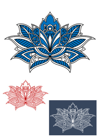 adorned: Decorative blue persian flower with curved petals, adorned by white paisley ornament. For textile, interior or lace embellishment design Illustration