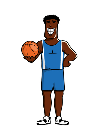 tank top: Happy cartoon african american basketball player character in blue uniform shorts and tank top with ball in hand, for sport theme design