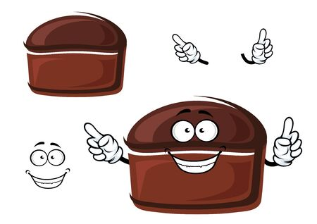 pastry crust: Healthy homemade rye bread cartoon character with brown crust, for bakery or pastry shop design