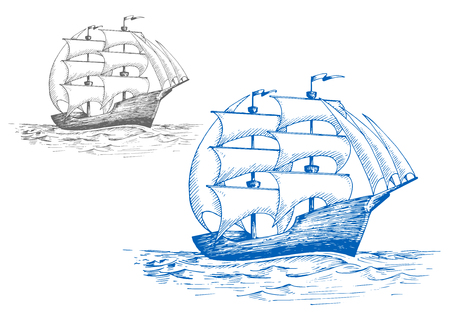 vessel: Old sailing brig under full sail on the stormy sea, for marine travel or pirate adventure themes design. Sketch style Illustration