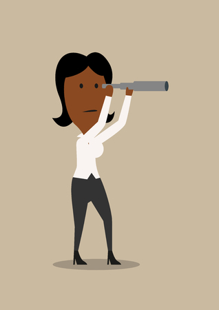 serious business: Serious african american businesswoman looking into the future with spyglass, for business strategy or attraction of investments concept design. Cartoon style