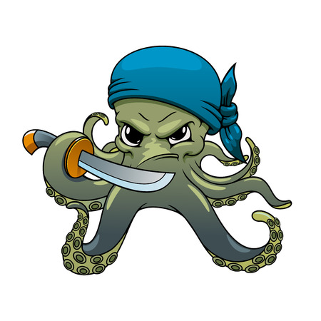 Angry octopus pirate cartoon character in blue bandanna, holding sword in curved dangerous tentacles