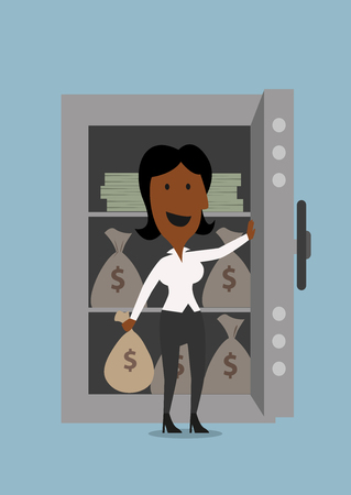 american banker: Cartoon african american businesswoman opening the door of bank safe with money bag in hand, for money safety design
