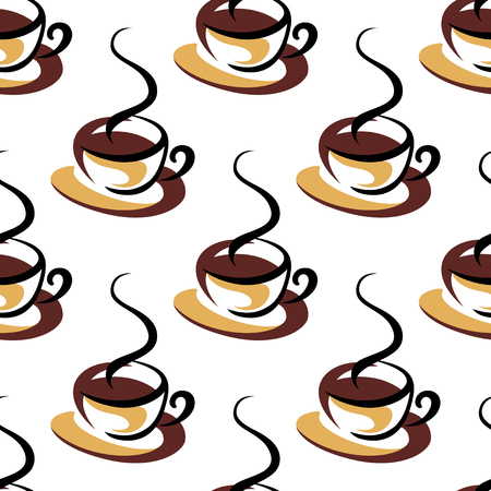 adorned: Seamless retro pattern with cups of hot coffee, adorned by steams on white background. For food and drink theme design