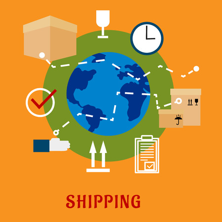 international shipping: International shipping service flat icons with cardboard boxes with packaging symbols, order list and clock with globe on the background and caption Shipping below Illustration