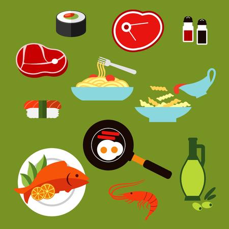plato de pescado: Iconos planos de alimentos saludables de rollo de sushi y nigiri, pasta y espaguetis con salsa, filetes de carne crudos, pescado a la parrilla, camarones, huevos fritos con salchichas, botella de aceite de oliva, sal y pimienta