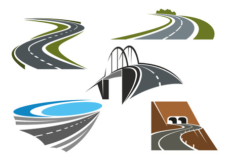 Road bridge, winding highways with green roadsides and mountain road tunnels icons set, for transportation theme design