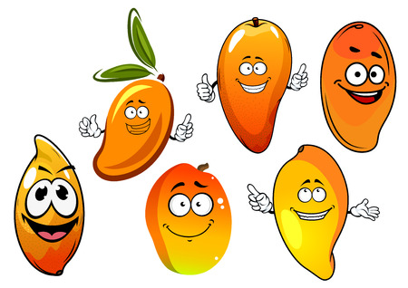 orange peel: Sweet tropical happy cartoon mango fruits with orange, yellow and red peel, isolated on white
