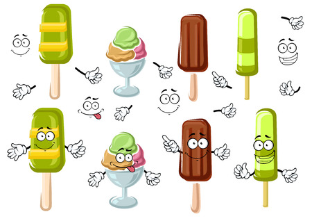 fruity: Joyful ice cream cartoon characters with chocolate ice cream bar, colorful sundae dessert and green fruity popsicles on sticks. Isolated on white for dessert menu design