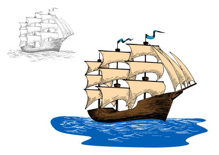 brig: Old wooden sailing ship with full sails in calm blue ocean, for marine or adventure design Illustration
