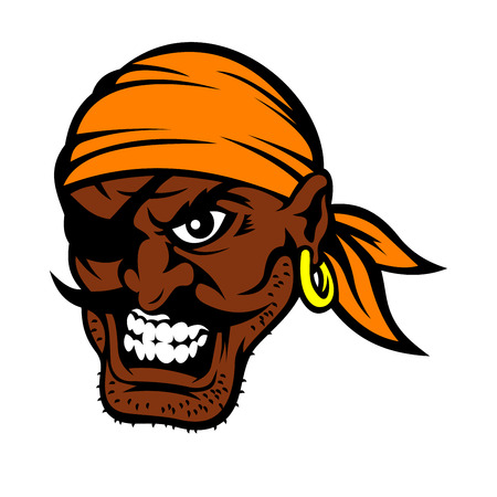 eye patch: Furious cartoon black moustached pirate character with eye patch, orange bandanna and gold earring, baring teeth in evil smile Illustration