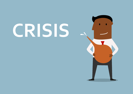 crisis management: African american businessman cleans out business from crisis with medical enema. For finance or crisis management concept design
