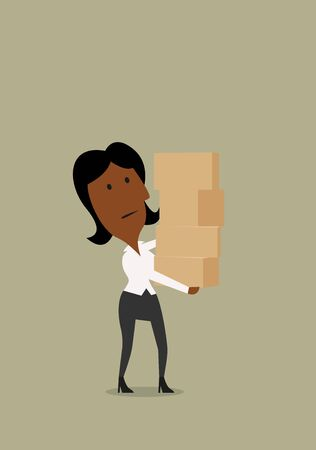 overwork: African american businesswoman carefully carrying a tall stack of cardboard boxes.  For overwork or delivery theme design