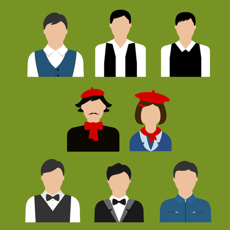 writer: Flat avatars with men and woman of different art or culture professions such as artist, musician, designer, writer, actor and other Illustration