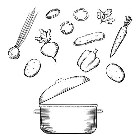 조리법 또는 메뉴 디자인을위한 요리 냄비 위에 신선한 당근, 감자, 파, 피망, 오이, 무우 야채, 파 슬 리, 건강 채식 샐러드 조리 과정. 스케치 아이콘