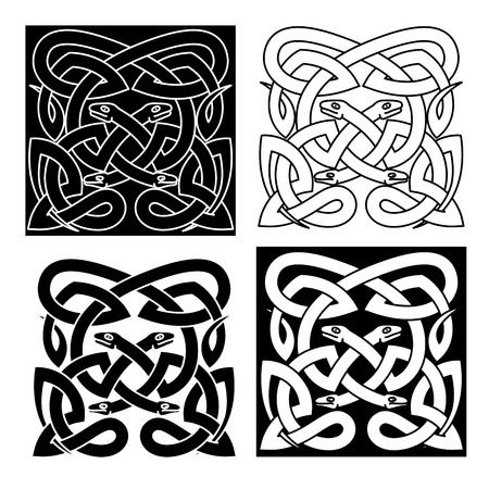 Medieval celtic reptile knot pattern with mythical snakes, for tattoo or t-shirt design Illustration