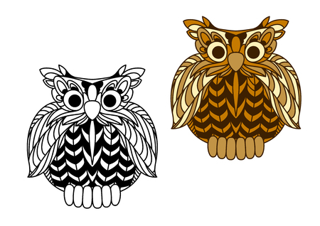 wise old owl: Old wise eagle owl cartoon character with brown plumage and second variant in outline style. For education or childish design