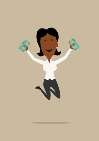 joyful: Happy excited african american businesswoman jumping with dollar packs in hands. For wealth, success or bonus design. Cartoon flat style Illustration
