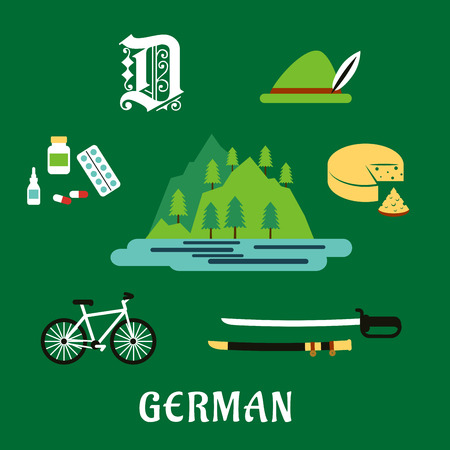 lake of the woods: German travel flat icons with Alps mountain landscape, forest and lake, surrounded by bavarian hat and cheese, medication, gothic german letter, bicycle and medieval sword Illustration
