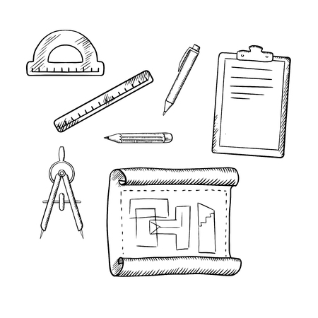 engineering clipboard: Architect drawing, compasses, pencil, pen, ruler, half circle protractor and clipboard sketch icons