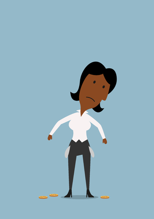 financial crisis: Cartoon sad african american businesswoman with empty pockets and last coins, for financial crisis or bankruptcy theme