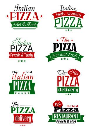 logos restaurantes: etiquetas de pizza italiana y señales con las cabeceras de colores como de entrega, alta calidad, caliente y fresco, el mejor, complementados con las estrellas y las banderas de la cinta Vectores