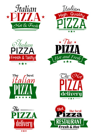 mozzarella cheese: Italian pizza labels and signs with colorful headers as Delivery, High Quality, Hot and Fresh, The Best, supplemented by stars and ribbon banners
