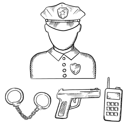 peaked: Policeman officer in uniform and peaked cap with handcuffs, gun and portable radio transceiver. Sketch icons for profession theme design Illustration