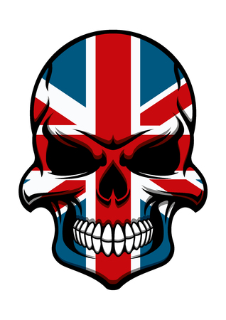 tattoo face: Skull tattoo with colorful pattern of Union Jack national flag of United Kingdom Illustration