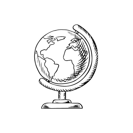seas: Modern globe with continents, oceans and seas on desktop stand, sketch icon for education or school themes design