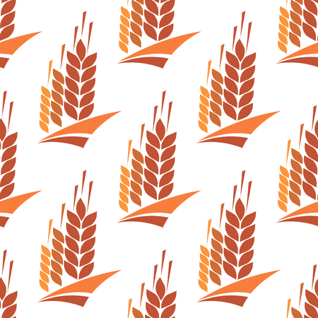 wheat harvest: Seamless pattern of cereal ears with wheat, rye and barley spikelets on white background, for agriculture and harvest theme background