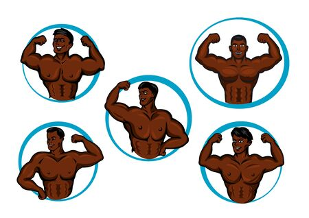 trizeps: Healthy african american sportsmen bodybuilders cartoon characters posing for showing their strong biceps, triceps and abdominal muscles, for sporting competition or gym emblem design