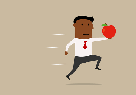 great suit: Proud african american businessman running with fresh red apple in outstretched, concept of new idea or research. Cartoon style Illustration