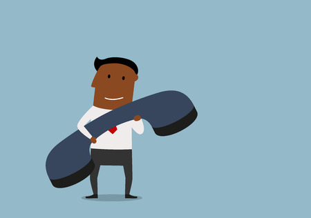 contact centre: African american businessman with huge phone receiver in hands, for customer support or communication theme design. Cartoon flat style