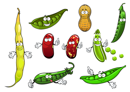 sweet pea: Funny green pods of sweet pea, common bean with mottled brown beans and peanut vegetables cartoon characters, for healthy vegetarian food design